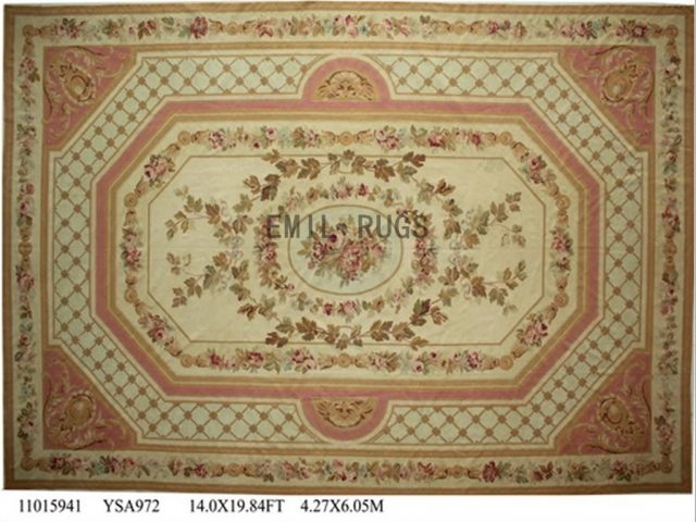 flat weave aubusson carpets Oversized 14' X 19.8' Ivory Field Ivory Border 100% New Zealand wool hand woven