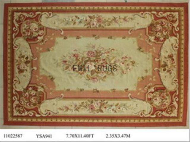 flat weave aubusson carpets 8.2' X 11.3' Pink Field Ivory Border 100% New Zealand wool hand woven