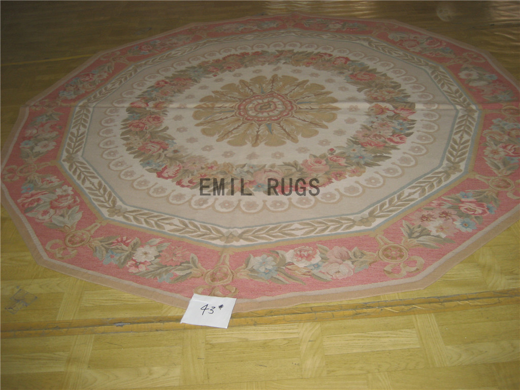 flat weave aubusson carpet Round 8.3' X 8.3' Ivory Field Pink Border 100% New Zealand wool hand woven