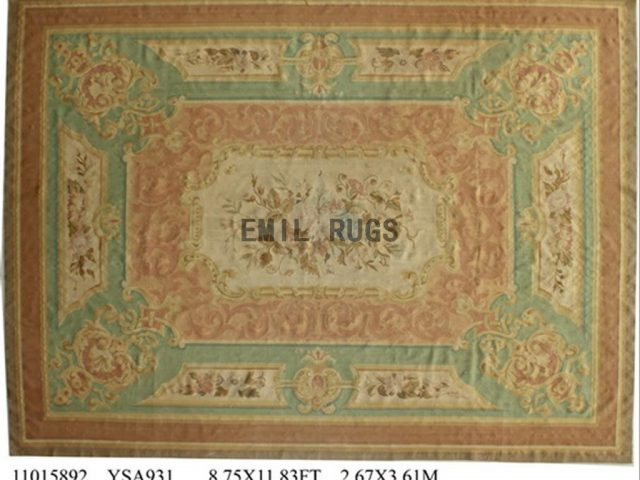 flat weave aubusson carpet 8.7' X 11.8' Beige Field Green Border 100% New Zealand wool european handmade