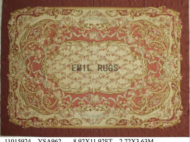 flat weave aubusson carpet 8.7' X 11.8' Ivory Field Brown Border authentic 100% New Zealand wool french