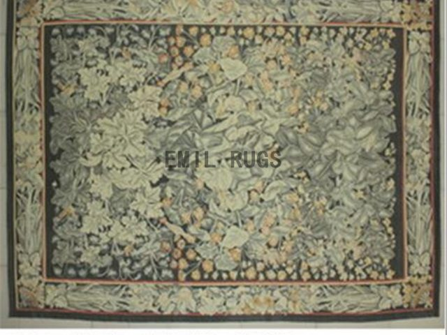 flat weave aubusson rug 8.7' X 11.8' Black Field Ivory Border authentic 100% New Zealand wool french