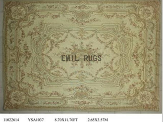 flat weave aubusson rug 8.7' X 11.8' Ivory Field Ivory Border 100% New Zealand wool hand woven