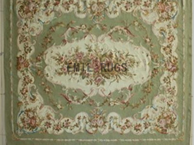 flat weave aubusson rugs 8' X 10' Ivory Field Green Border authentic 100% New Zealand wool french