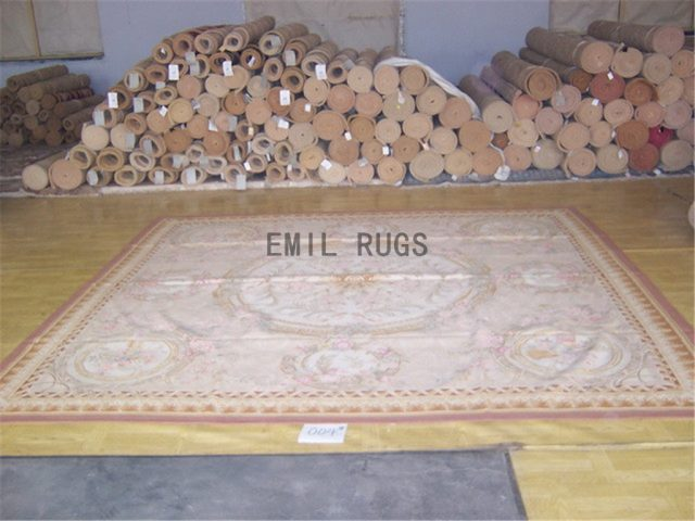 flat weave aubusson carpet 9.6' X 9.7' Ivory Field Ivory Border authentic 100% New Zealand wool french