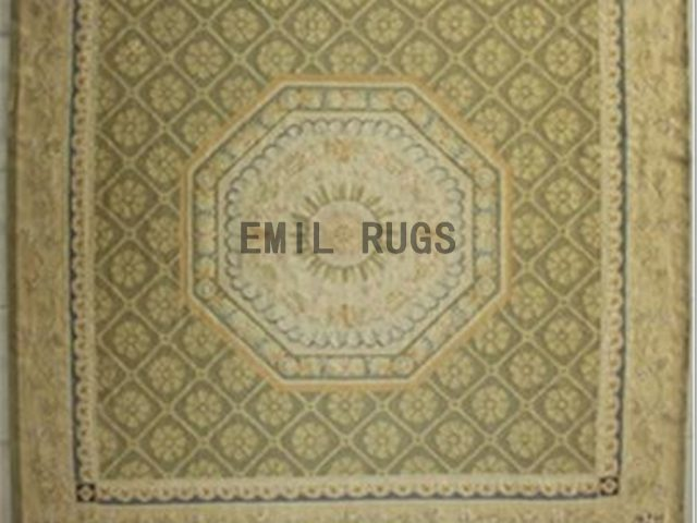 flat weave aubusson carpet 9.6' X 9.7' Beige Field Beige Border 100% New Zealand wool european handmade
