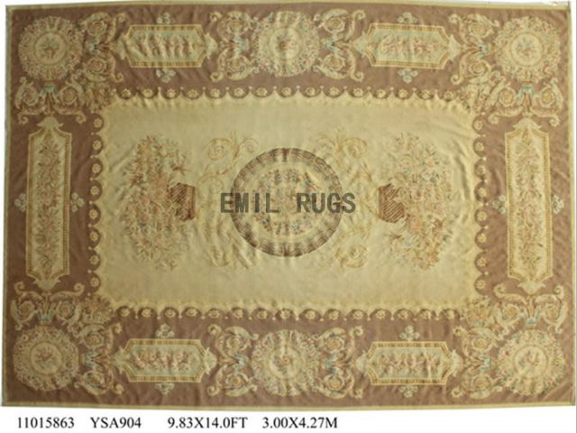 flat weave aubusson carpet 9.9' X 13.8' Ivory Field Brown Border 100% New Zealand wool hand woven