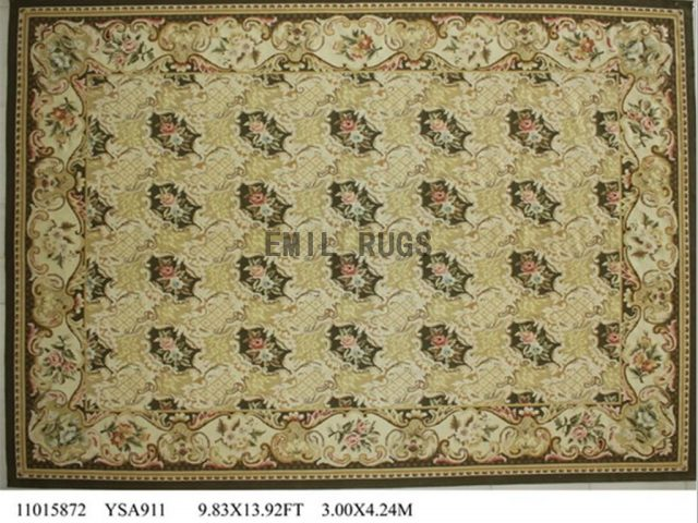 flat weave aubusson carpets 9.9' X 13.8' Ivory Field Ivory Border 100% New Zealand wool hand woven