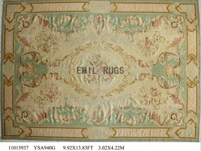 flat weave aubusson carpet 9.9' X 13.8' Green Field Ivory Border authentic 100% New Zealand wool french