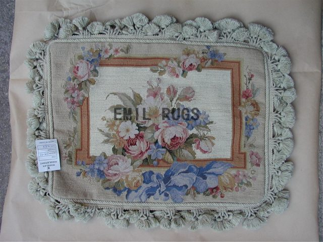 "100% wool victorian french aubusson petitpoint 12"" X 16"" needlepoint pillow decorative throw pillows"