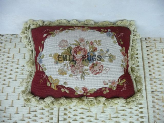 "100% wool victorian french aubusson petitpoint 12"" X 16"" needlepoint cushion decorative throw pillows"