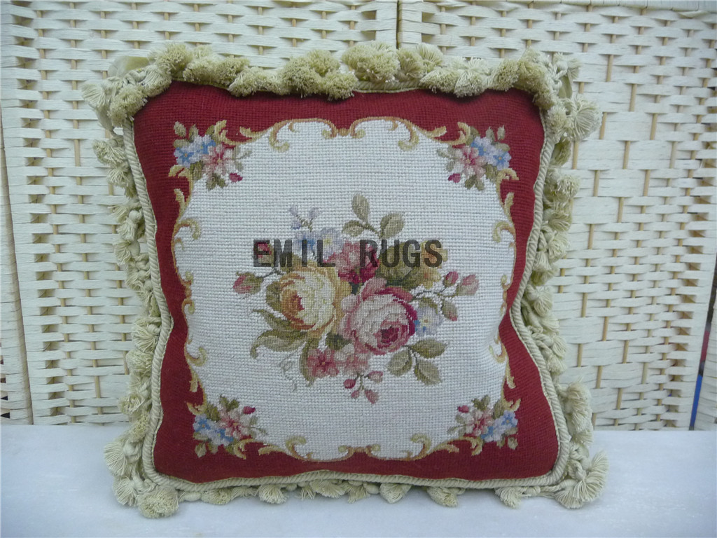 "100% wool victorian french aubusson petitpoint 14"" X 14"" needlepoint cushions decorative throw pillows"