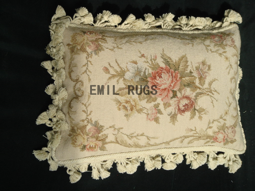 "100% wool victorian french aubusson petitpoint 12"" X 18"" needlepoint pillows decorative throw pillow"