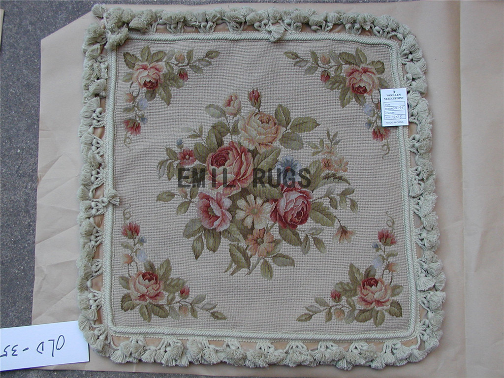 Victorian Tapestry Pillows : 100% wool victorian french aubusson petitpoint 18
