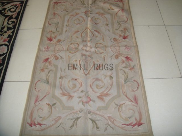 hand woven 2.5' X 4.6' Ivory Field Ivory Border flat weave aubusson carpet