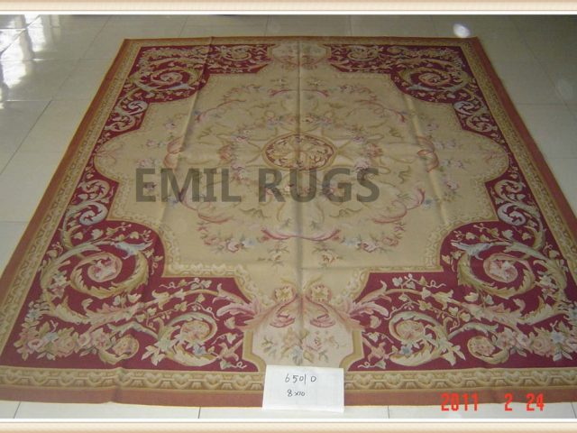 authentic wool french 8' X 10' Ivory Field Multi-Colored Border flat weave aubusson rugs