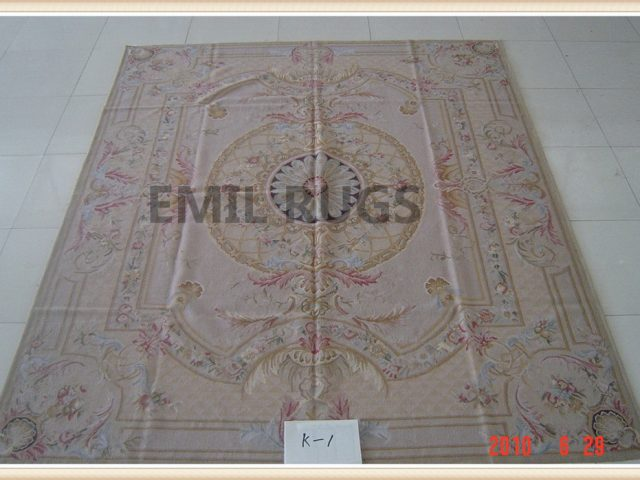hand woven 8' X 10' Pink Field Multi-Colored Border flat weave aubusson rugs