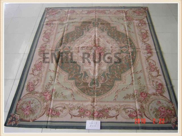authentic wool french 8' X 10' Green Field Pink Border flat weave aubusson rug