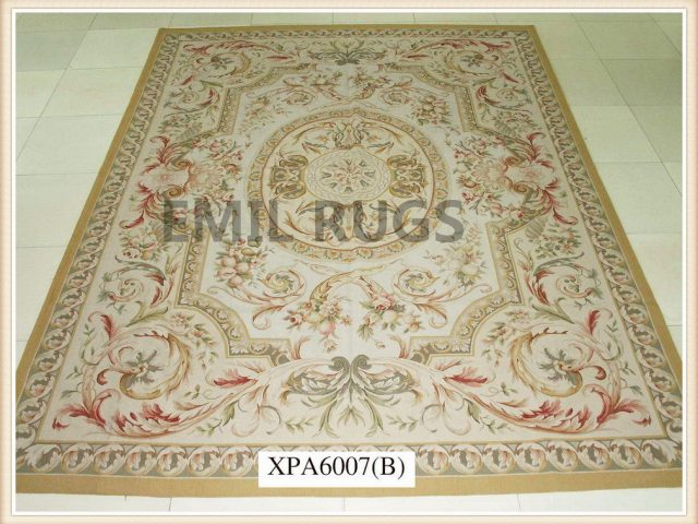 authentic wool french 8' X 10' Ivory Field Multi-Colored Border flat weave aubusson carpet