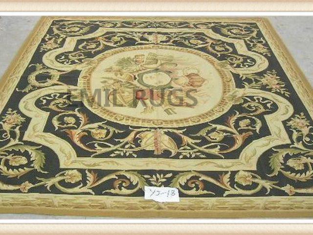 hand woven 8' X 10' Black Field Yellow Border flat weave aubusson carpet