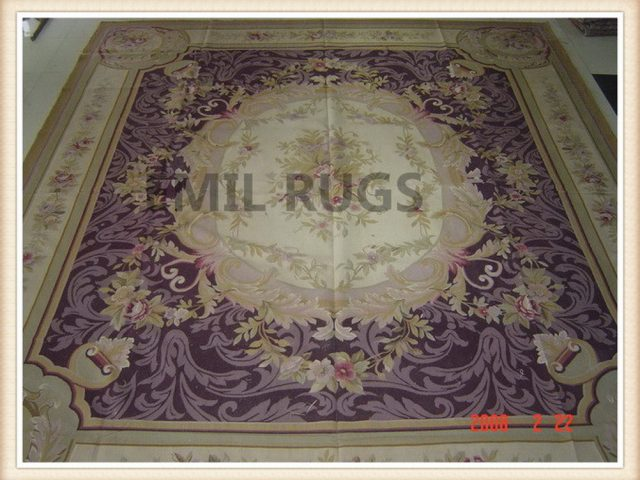 authentic wool french 9' X 12' Ivory Field Burgundy Border flat weave aubusson rugs