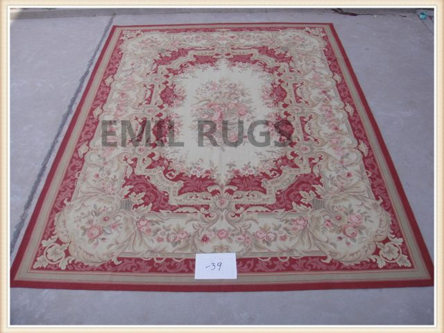authentic wool french 9' X 12' Ivory Field Red Border flat weave aubusson rug
