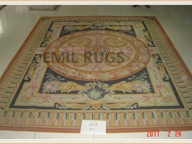 authentic wool french 9' X 12' Ivory Field Multi-Colored Border flat weave aubusson rug