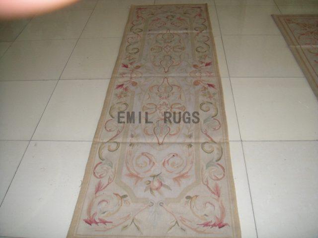 handmade Runner 2.5' X 7' Ivory Field Ivory Border flat weave aubusson rugs