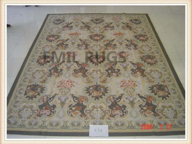 authentic wool french 9' X 12' Multi-Colored Field Multi-Colored Border flat weave aubusson rugs