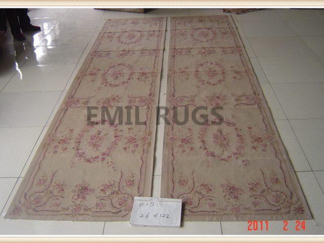 handmade Runner 2.5' X 10' Ivory Field Ivory Border flat weave aubusson carpets