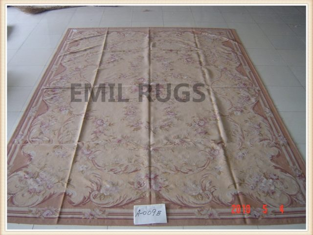 handmade 9' X 12' Ivory Field Multi-Colored Border flat weave aubusson carpet
