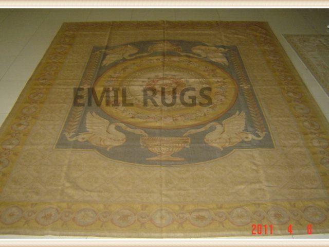 handmade 9' X 12' Yellow Field Yellow Border flat weave aubusson carpet