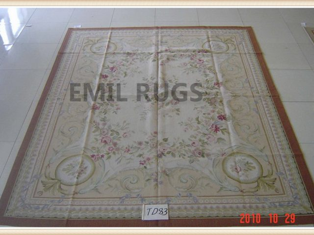 hand woven 9' X 12' Ivory Field Ivory Border flat weave aubusson rug