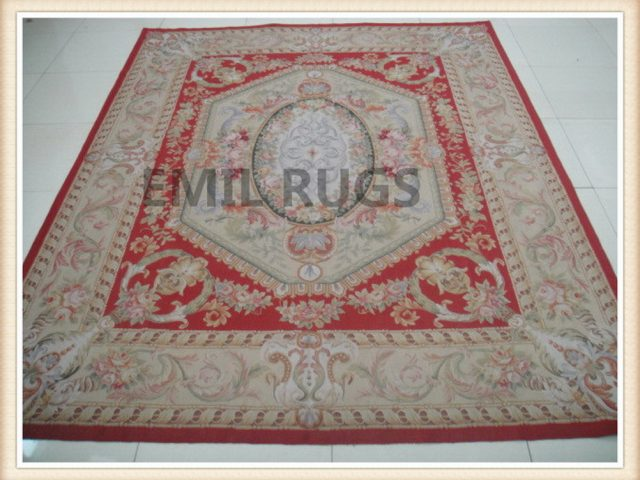hand woven 9' X 12' Ivory Field Ivory Border flat weave aubusson carpets