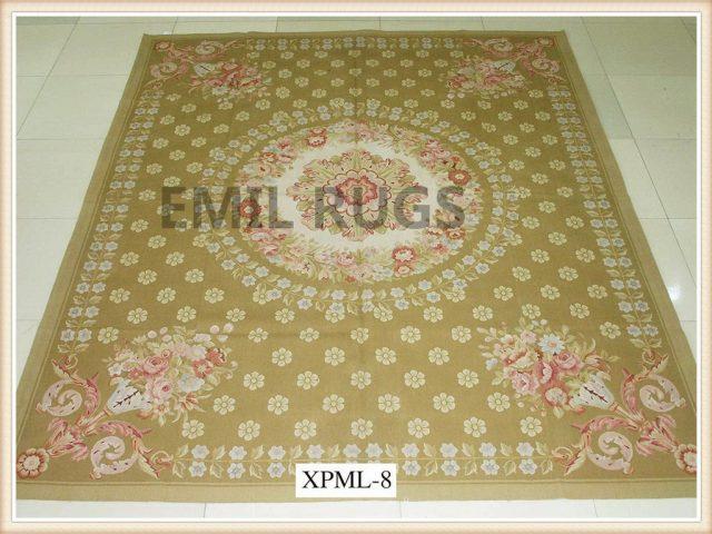 authentic wool french 9' X 12' Beige Field Beige Border flat weave aubusson carpet