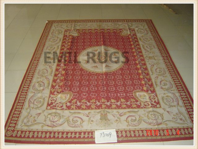 authentic wool french 9' X 12' Red Field Ivory Border flat weave aubusson rug