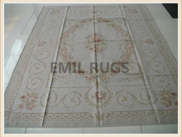 authentic wool french Square 10' X 10' Ivory Field Ivory Border flat weave aubusson carpets
