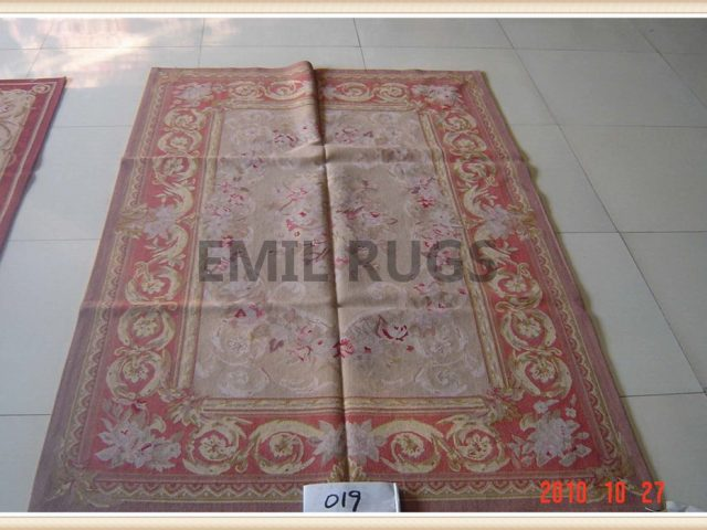 authentic wool french 10' X 14' Pink Field Red Border flat weave aubusson carpet