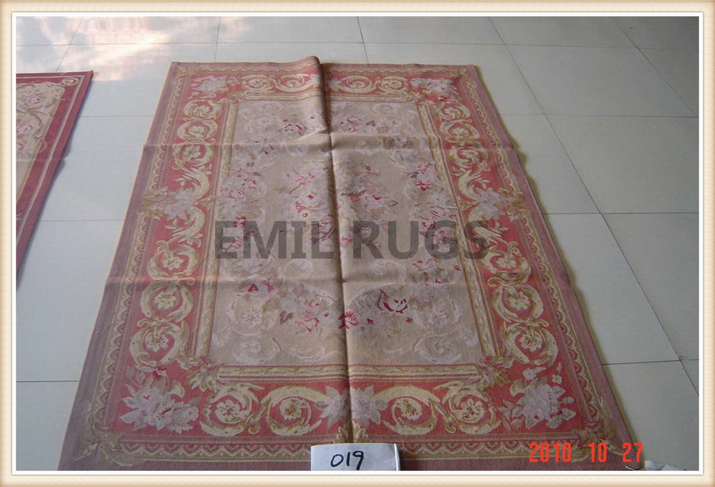 authentic wool french 10′ X 14′ Pink Field Red Border flat weave aubusson carpet