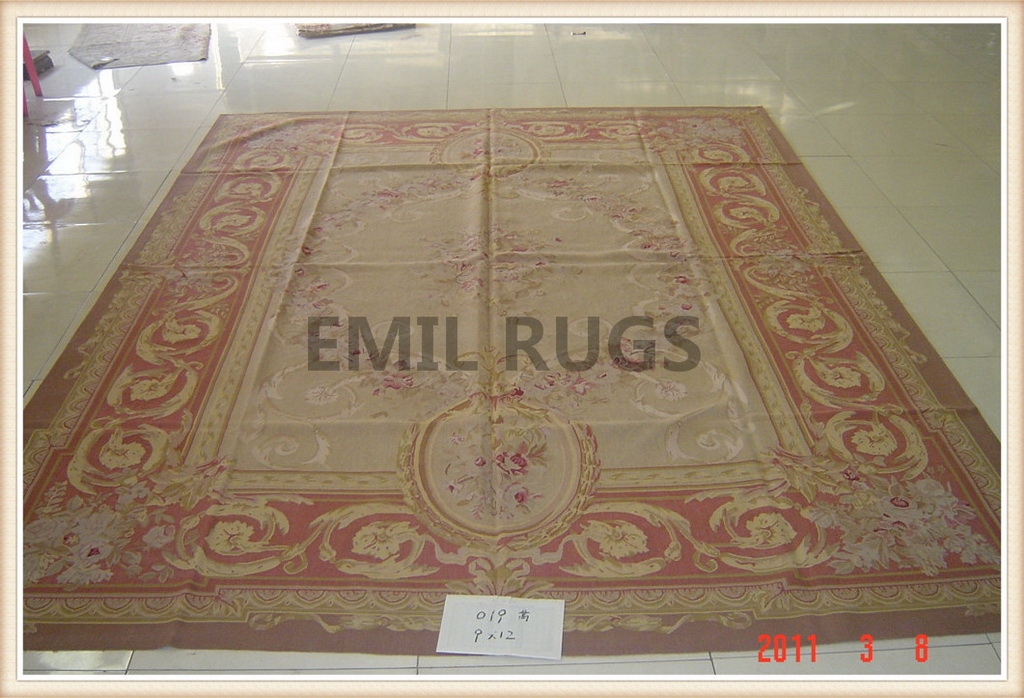 authentic wool french 10′ X 14′ Ivory Field Red Border flat weave aubusson rug