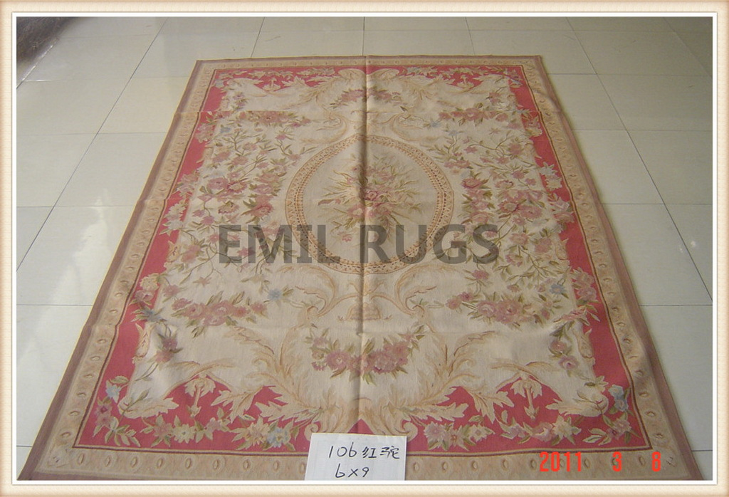 authentic wool french 10' X 14' Ivory Field Red Border flat weave aubusson rugs