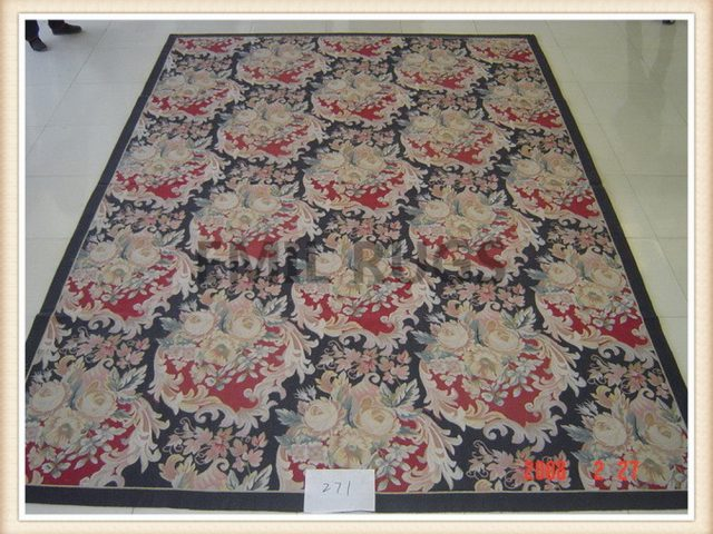 authentic wool french 10' X 14' Black Field Black Border flat weave aubusson rug
