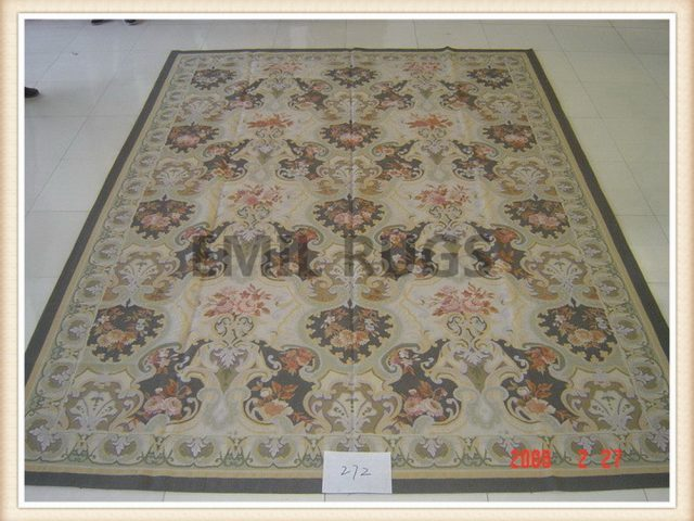 authentic wool french 10' X 14' Multi-Colored Field Multi-Colored Border flat weave aubusson rug