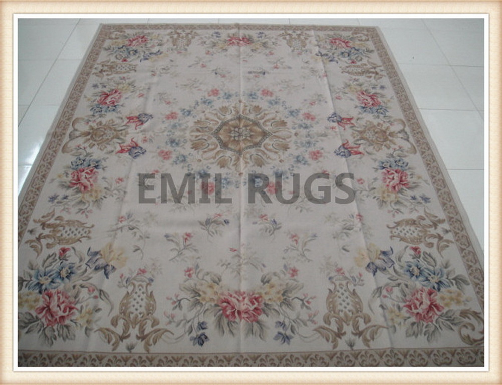 authentic wool french 10′ X 14′ Ivory Field Ivory Border flat weave aubusson rug
