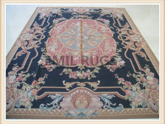 authentic wool french 10' X 14' Black Field Multi-Colored Border flat weave aubusson carpet