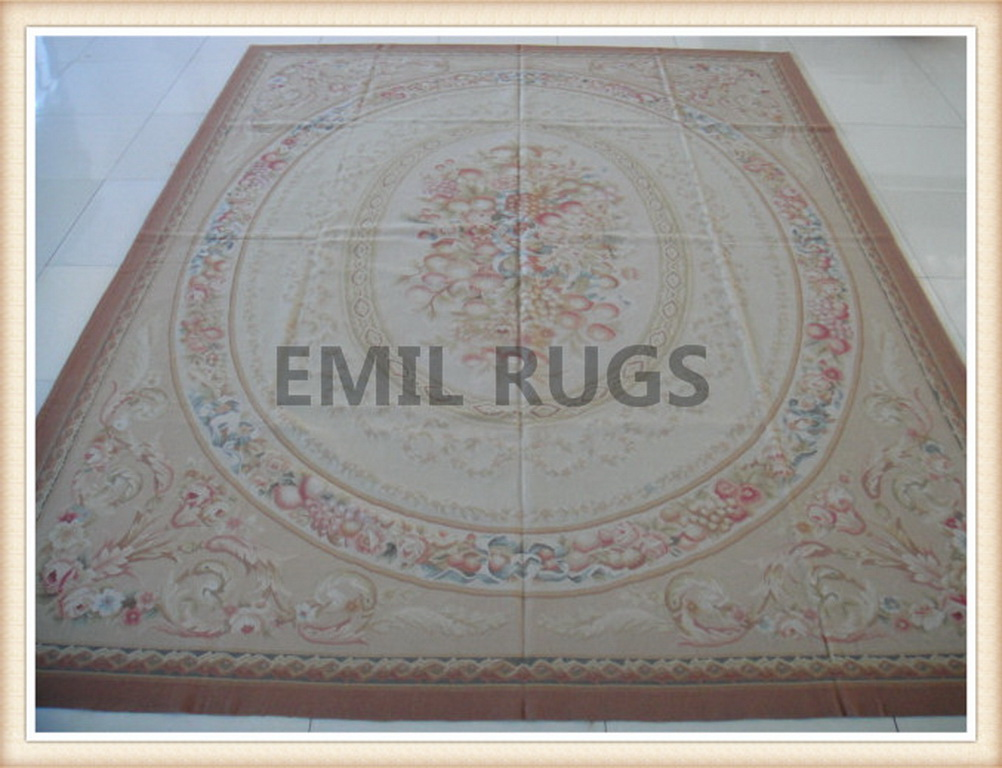 authentic wool french 10' X 14' Ivory Field Multi-Colored Border flat weave aubusson rug