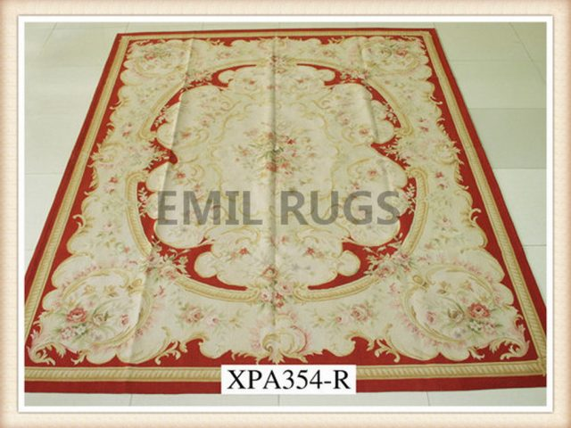 handmade Square 12' X 12' Ivory Field Red Border flat weave aubusson rug