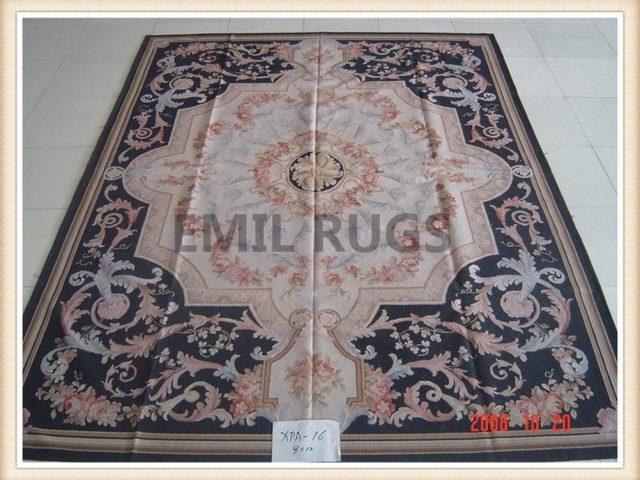 hand woven 12' X 15' Ivory Field Black Border flat weave aubusson rugs
