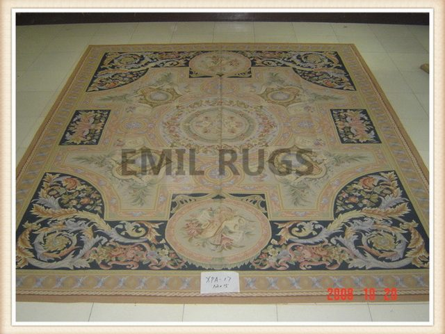 hand woven 12' X 15' Multi-Colored Field Multi-Colored Border flat weave aubusson rug