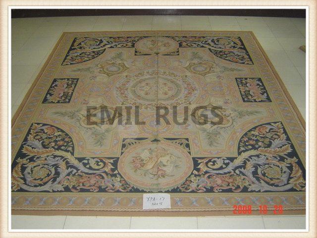 hand woven 12' X 15' Multi-Colored Field Multi-Colored Border flat weave aubusson rug